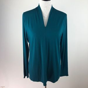 Talbots Knit Blouse Collared Long Sleeve V-Neck
